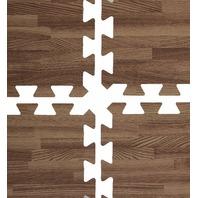 Interlocking Puzzle Pieces Wood Grain Floor Mats (Set Of 13), Dark Oak