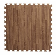 Interlocking Puzzle Pieces Wood Grain Floor Mats (Set Of 13), Dark Oak