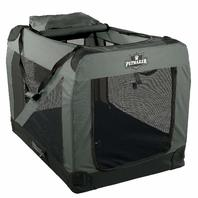 "Petmaker Portable Soft Sided Pet Crate, 42"" X 28"", Gray"