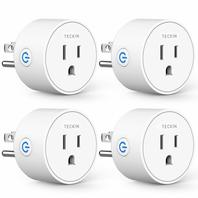 Teckin Wifi Enabled Remote Control Smart Socket, White, 4 Pack