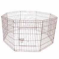 Aleko 42 Inch Dog Playpen Pet Kennel Pen Exercise Cage Fence 8 Panel Pink Color