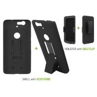 Cellet Shell/Holster/Kickstand Combo Case for Google Nexus 6P - Black