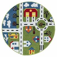 "Whimsical Area Rug, 4'8"" Circle, Green/Cream"