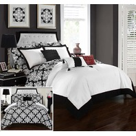 Chic Home Tania 10 Piece Reversible Comforter Bag Hotel Collection King, Black
