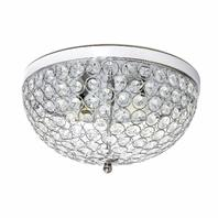 Elegant Designs Fm1000-Chr Ellipse Crystal 2 Light Ceiling Flush Mount, Chrome