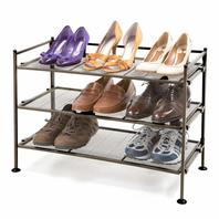 Seville 3-Tier Mesh Utility Shoe Rack - Satin Pewter