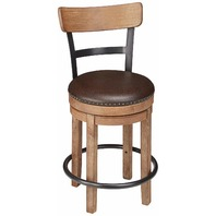Signature Design - Pinnadel Swivel Barstool - Counter Height - Brown