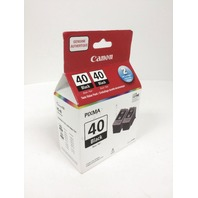 Genuine Canon PG-40 HIGH Yield Black Ink Cartridge, 2 Pack - SEALED