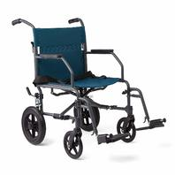 Medline Transport Wheelchair With Lightweight Steel Frame - Teal