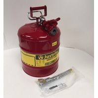 """Justrite 7250130 Galvanized Steel, Accuflow Type Ii Red Safety Can 1"""" Flexible"""