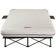 Coleman Camping Cot, Queen Air Mattress, and Pump Combo - Beige