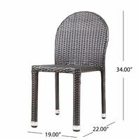 Amallie Outdoor Multibrown Wicker Stacking Chairs With Aluminum Frame-Set Of 4