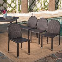 Amallie Set Of 4 Outdoor Multibrown Wicker Stacking Chairs With Aluminum Frame