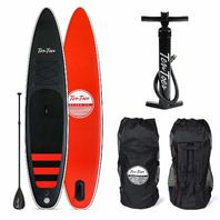 Ten Toes Globetrotter Inflatable Stand Up Paddle Board, Black/Red, Large/12'
