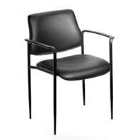Square Back Caressoft Dimond Stacking Chair With Arms In Black