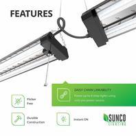 Sunco Lighting Industrial LED Shop Light, 4 Ft, Linkable Integrated T8 Fixture