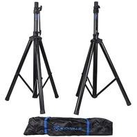 Pair Rockville Rves1 Adjustable Tripod Dj Pa Speaker Stands Carry Bag/Universal