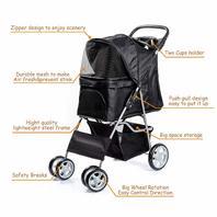 Display4top 4 Wheels Pet Travel Stroller (Black)