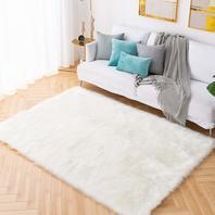 Carvapet Shaggy Soft Faux Sheepskin Fur Area Rug - 6ft X 9ft, White