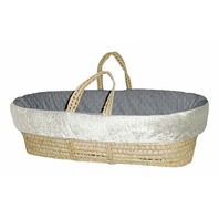 Baby Doll Bedding Croco Minky Moses Basket, Ivory/Grey
