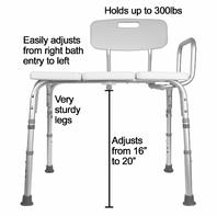 Carex Tub Shower Transfer Bench - with Height Adjustable Legs