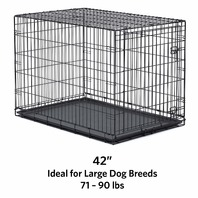 42 Inches Folding Metal Dog Crate Includes Leak Proof Plastic Tray Dog Crates