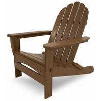 POLYWOOD Classic Teak Oversized Curveback Plastic Patio Adirondack Chair