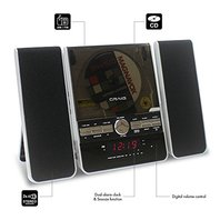 Craig Vertical CD Shelf System With Stereo Radio Alarm Clock, 3-Piece Black