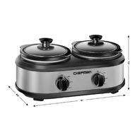 Chefman Double Slow Cooker & Buffet Server 2 Removable 1.25 Qt. Oval Crocks