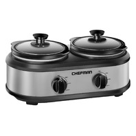 Chefman Double Slow Cooker & Buffet Server 2 Removable 1.25 Qt. Oval Crocks