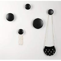 Wall Hooks Coat Hooks 5pcs Dots Hook.(Black)