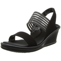 Skechers Cali Women's Rumblers-Sci-Fi Wedge Sandal, Black, 9 M Us