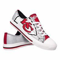 NFL Kansas City Chiefs Womens Ladies Glitter Low Top Canvas Sneaker - 8 Large