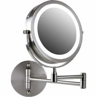 Ovente Battery Operated LED Lighted Wallmount Vanity Mirror Nickel Brushed