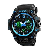 Analog Mens Digital Watch, Waterproof Military  Dual Display (Blue)