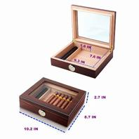 Cedar Cigar Desktop Box With Humidifier And Hygrometer, Glass Top