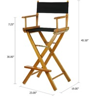 "Casual Home Honey Oak Frame Canvas Director Chair, 30"", Black"