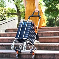 Folding Shopping Stair Climbing Cart with Rolling Swivel Wheels & Removable Bag