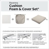 "Square Patio Cushion Foam - 3"" Thick 19""W x 19""D x 3""T with cover- Mushroom"