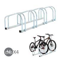 HOMCOM 4 Bike Rack Parking Storage Stand Ground Mount Garage Organizer Silver