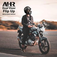 AHR Full Face Flip Up Modular Motorcycle Helmet Dual Visor - Black XL