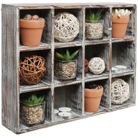 Freestanding or Wall Mounted Wood 12-Compartment Home Decor Shadow Box