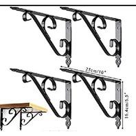 Shelf Brackets, 4pcs 10''L X 6''H Thicken Iron L-Shaped Decorative Supports