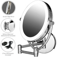 Ovente Led Lighted Wall Mount Makeup Mirror, 1x/10x Magnification,  9.5 Inch,