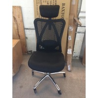 Damaged Office Chair With Lumbar Support And Roller blade Wheels