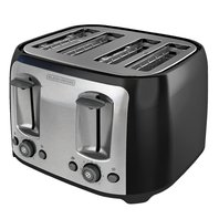 BLACK DECKER 4-Slice Toaster, Classic Oval, Black w Stainless Steel Accents
