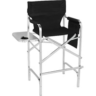 "45"" Aluminum Frame Tall Metal Director's Chair With Side Table (Black)"