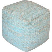 Christopher Knight Home Ada Hand Woven Aqua Fabric Pouf, Blue