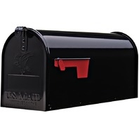Gibraltar Elite Medium, Galvanized Steel, Black Post Mount Mailbox