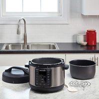 Crock-Pot 4-Quart Multi-Use Mini Express   Slow Cooker, Black Stainless